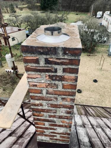 Frézování a vložkování komínového průduchu pro krbová kamna